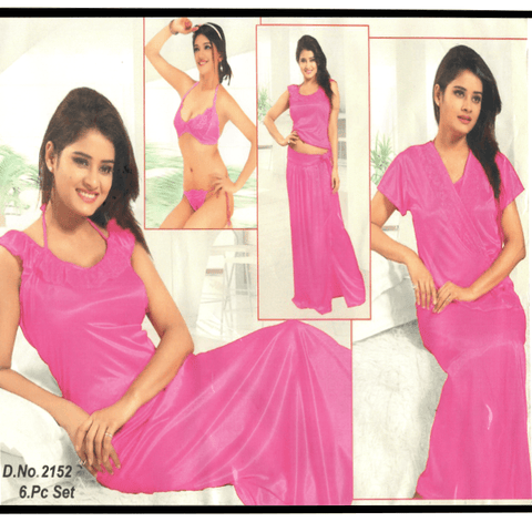 6 Piece Pink Bridal Nighty - 2152