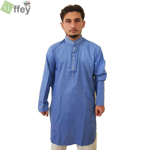 Baby Blue Kurta With White Pipin For Men - Hiffey