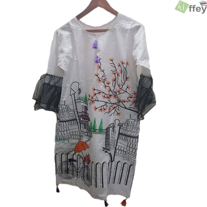 White Printed Cotton Shade 3D Kurti - Hiffey