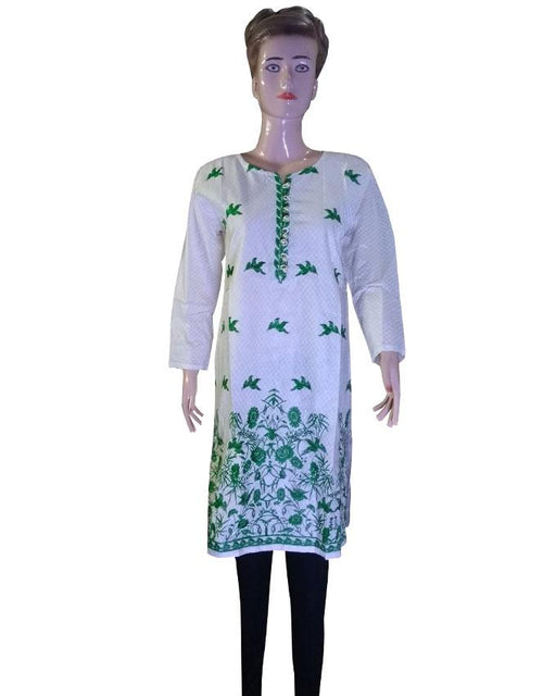 Independence Day White Kurti with Green Embroidered - Hiffey