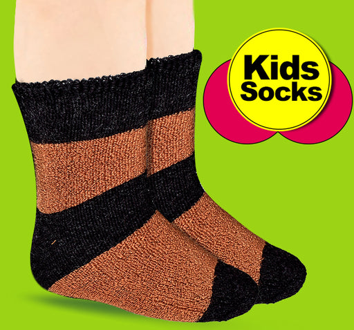 Winter Thermal Warm Socks For Kids - Brown & Black - Hiffey