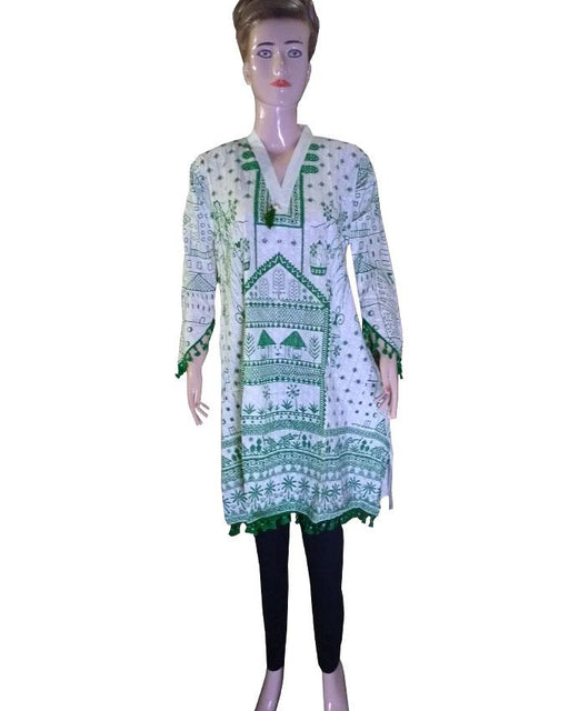 Independence Day White Kurti with Green Design - Hiffey
