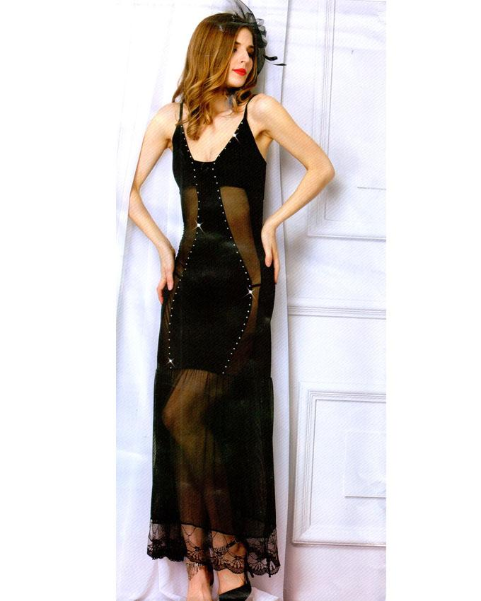 Black Long Nighty with Diamonds Front - 1903
