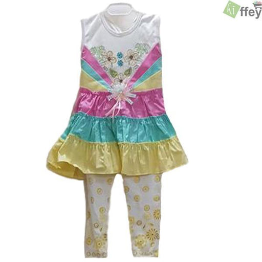 Printed Flower Frock Yellow Color For Baby Girl - Hiffey