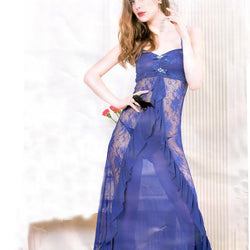 Stylish Dark Blue Long Gown Style Nighty -6204