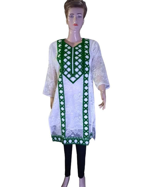 Independence Day Net White Kurti with Dark Green & White kadai work - Hiffey