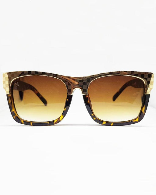 Louis Vuitton Checkered Golden Frame Sunglasses - Hiffey