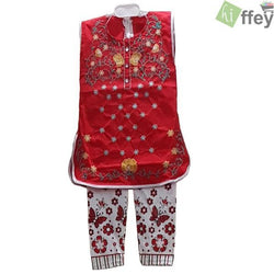 Embroidered Sleeveless kids kurti Red Color For Baby Girl