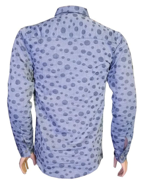 Grey & Black Spot Long Sleeves Casual Shirt - Hiffey