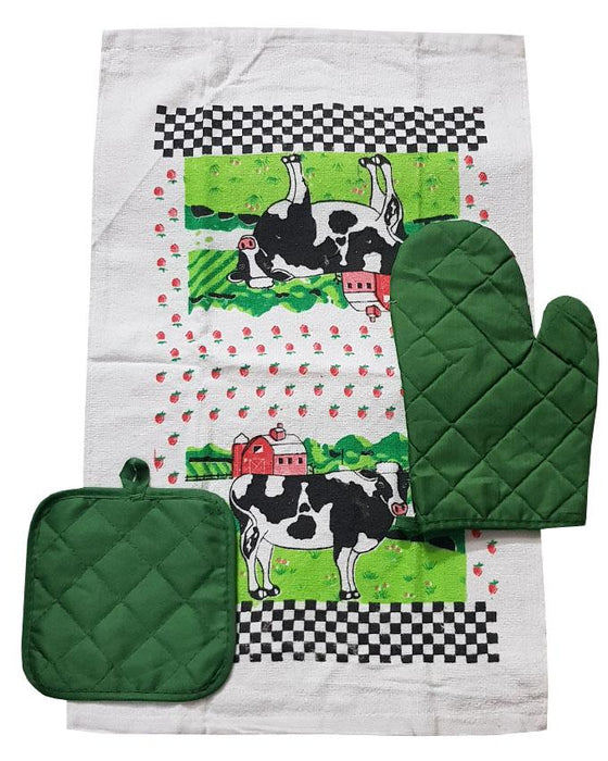 Kitchen Towel, Oven Mitt and Pot Holder Set - Hiffey