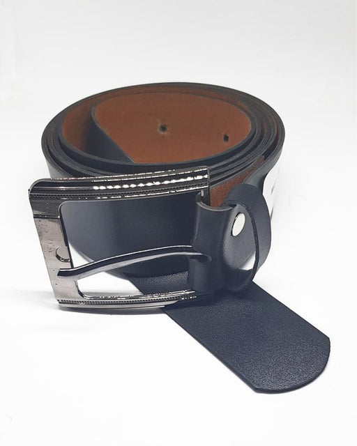 Formal Leather Belts Square Line For Men - Black - Hiffey