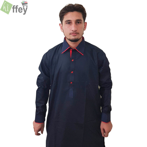 Black Printed Kurta For Men - Hiffey