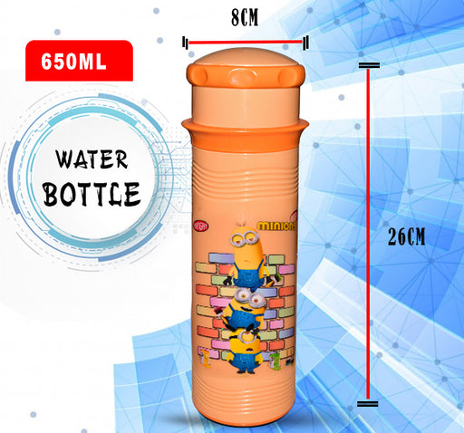 Minions Character Printed Water Bottle For Kids - Orange - 650 ml - Hiffey