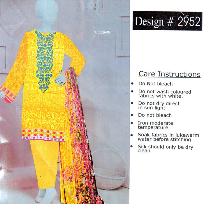 Unstitched 3PC Yellow Printed Embroidered Lawn Design 2952 - Hiffey