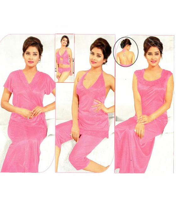 Bridal Pink Nighty 6 Piece Set - 6090D - Hiffey