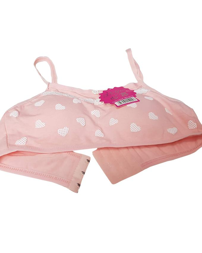 Aire Bra Hearts With Buttons  Padded - Peach