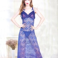 Stylish Royal Blue Long Gown Style Nighty -20211