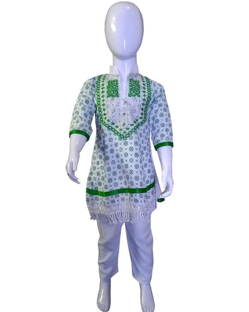 Front Embroidery Baby designs Frock With Pajama For 14 August - Hiffey