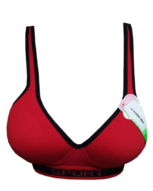 Sports Bra With Out Cross Style For Girls - Red - Hiffey