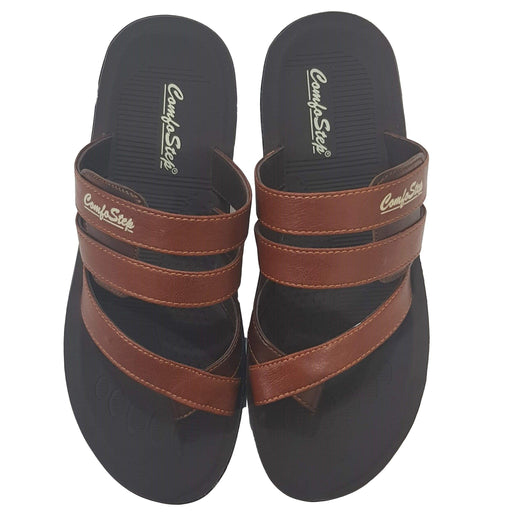 Men ComfoStep Chappal - Dark Brown - Hiffey