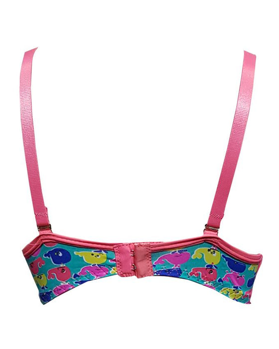 Padded Bra Wired Pink Stripes Multi Whale Printed -Metallic Green - Hiffey