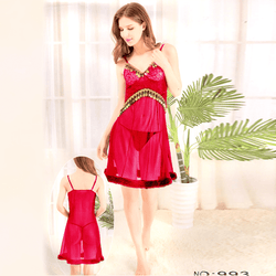 Red Stylish Nighty with Golden Less - 993