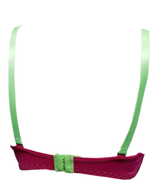 Padded Wired Fancy Bra Apple Green Strap - Maroon - Hiffey