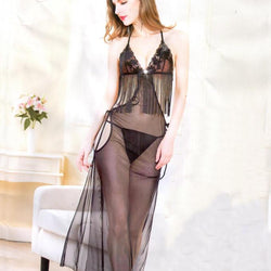 Black Stylish Lingerie Long Gown Style -20213