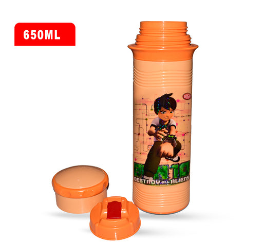 Ben 10 Destroy All Aliens Water Bottle For Kids - Orange - 650 ml - Hiffey