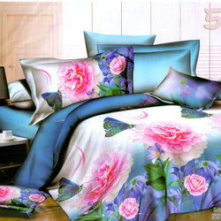 Blue Bass With Pink Flower 3D Stylish 3 Piece King Double Bed Sheet Set