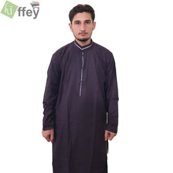 Dark Red Kurta With Purple Pipin For Men - Hiffey