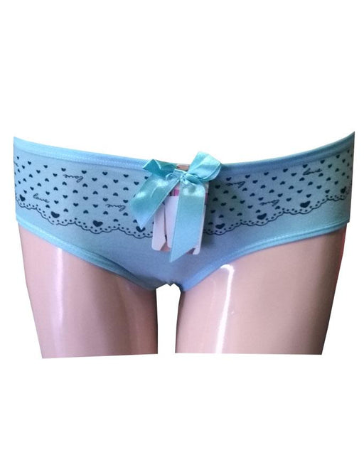 Love Heart Printed Cotton Panty - Sky Blue - Hiffey
