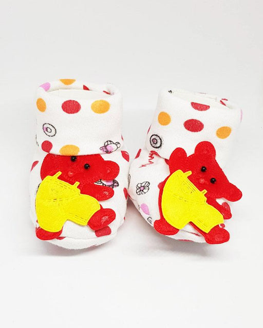 Newborn Baby Red Bear Cotton Shoes - Hiffey