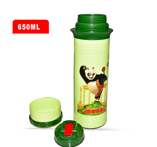 Kung Fu Panda Water Bottle For Kids - Green - 650 ml - Hiffey