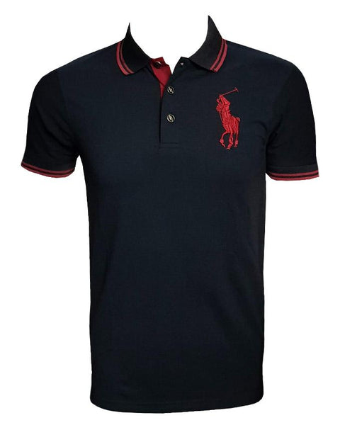 Polo Shirt Black With Red Line on Collar