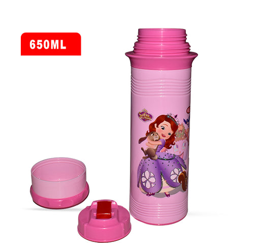 Barbie Princess Sofia Water Bottle For Kids - Pink - 650 ml - Hiffey