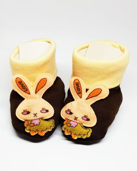Newborn Baby Brown Rabbit Cotton Shoes - Hiffey