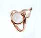 White Twin Stones Ring For Girls - Golden - Hiffey