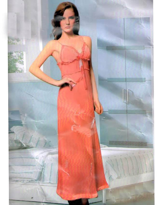 Classic Nightwear Peach Soft Cotton Long Nighty A04 - Hiffey