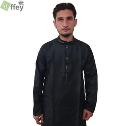 Black Kurta With White Pipin For Men - Hiffey