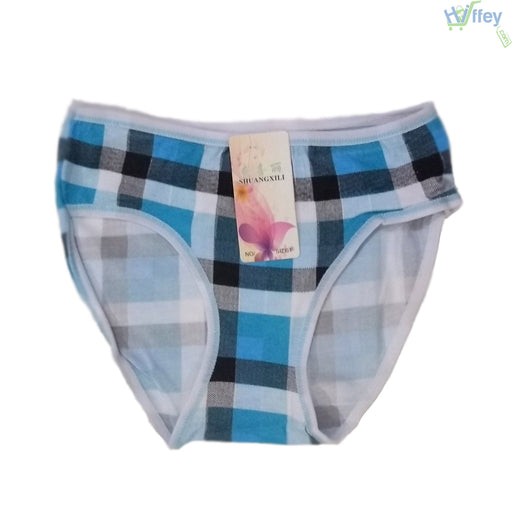 Printed Check Blue Color Cotton Panties - Hiffey