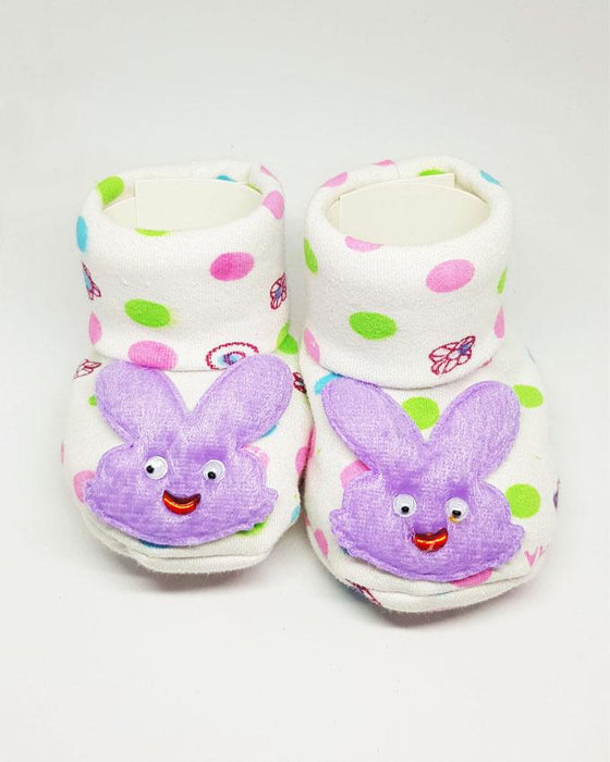 Newborn Baby Purple Rabbit Cotton Shoes - Hiffey