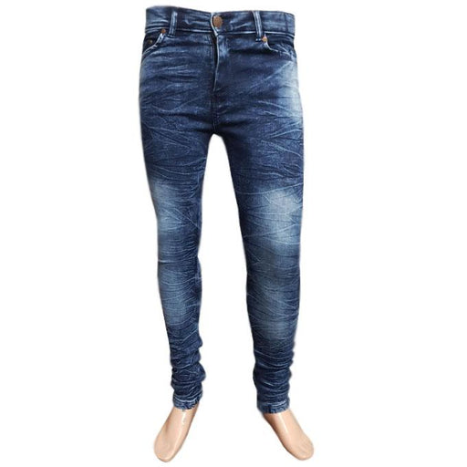 Wrinkle Dark Blue Faded Branded Jeans For Men - Hiffey