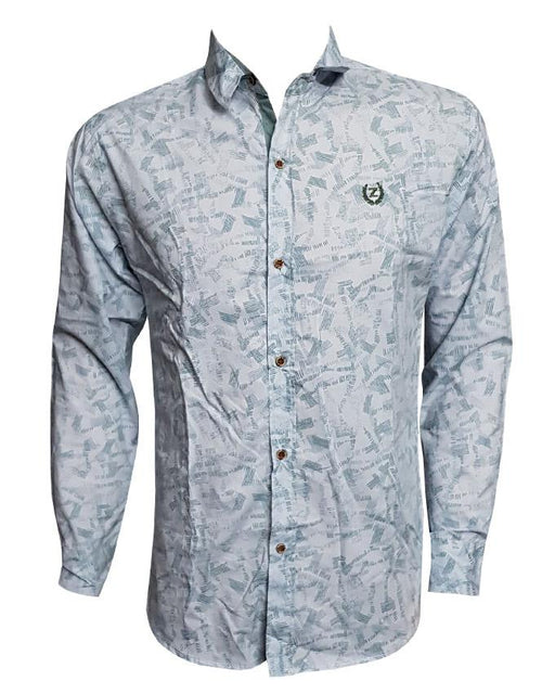 Printed Gray Long Sleeves Casual Shirt - Hiffey