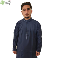 Midnight Blue Kurta With White Pipin For Men - Hiffey