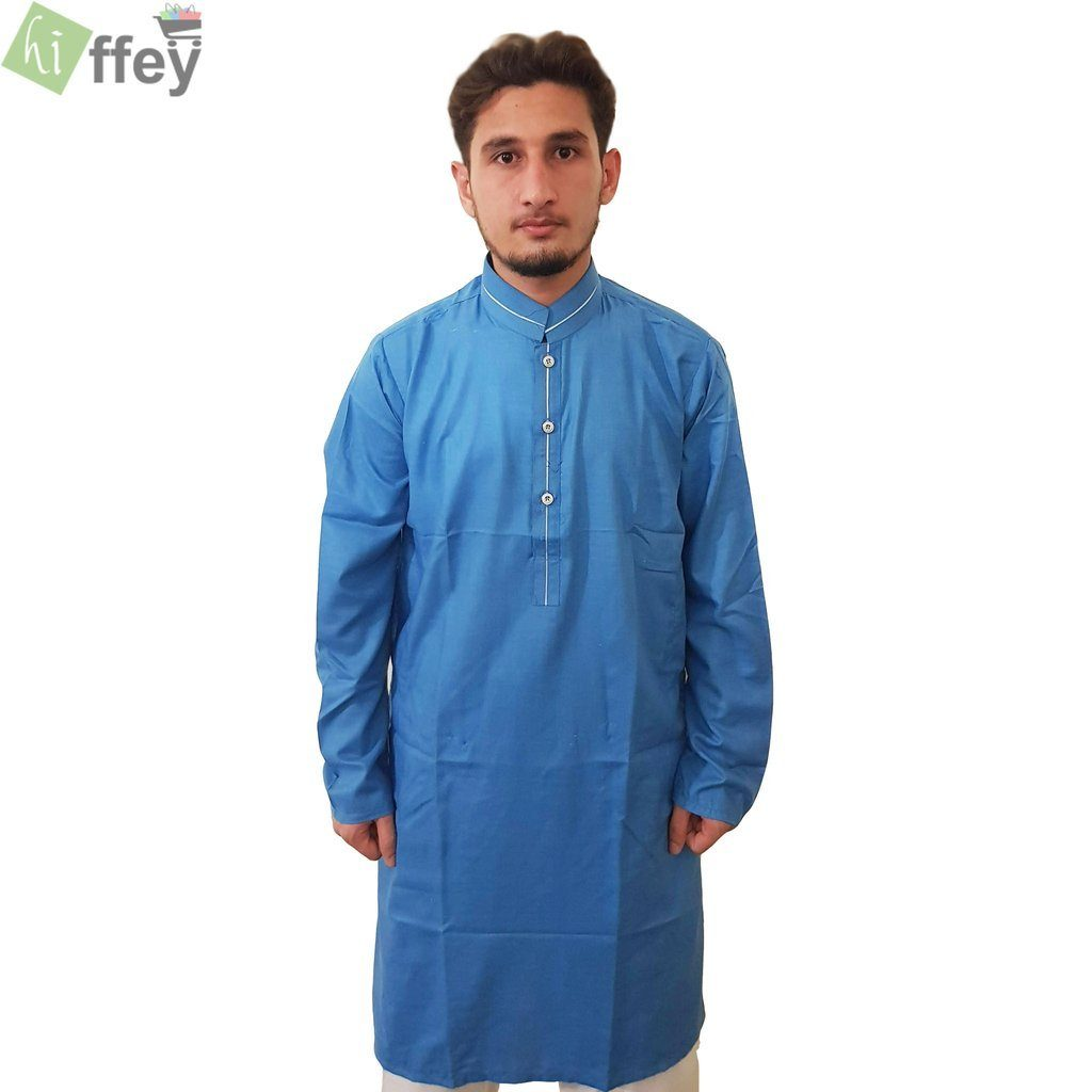 Azure Kurta With White Pipin For Men - Hiffey