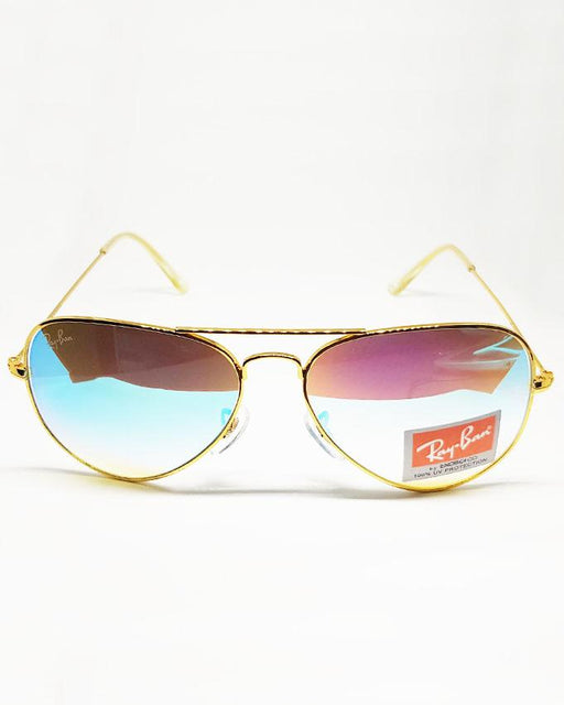 RayBan Golden Frame Blue Shade Sunglasses - Hiffey