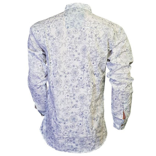 Navy Blue Flower Printed Long Sleeves Casual Shirt - Hiffey