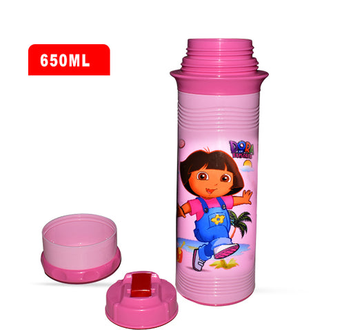 Dora The Explorer Water Bottle For Kids - Pink - 650 ml - Hiffey