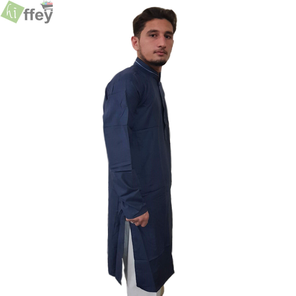 Midnight Blue Kurta With White Pipin For Men